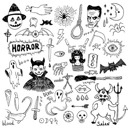 Horror set of Halloween doodle sticker sketch set