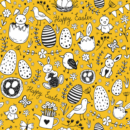 Easter traditional symbols seamless - eggs, bunny, willow twigs, basket Stock Vector - 127293926
