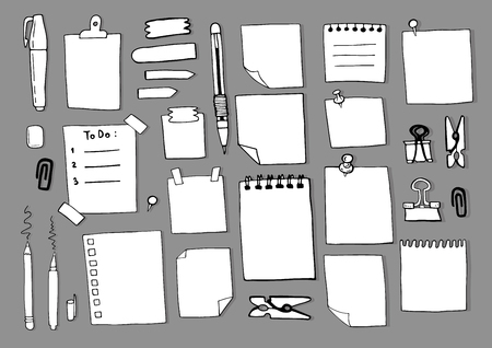 Hand draw note empty paper sketch set Stok Fotoğraf - 129800311