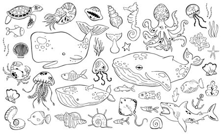 Marine life collection of sketche set. Sea animals. Иллюстрация