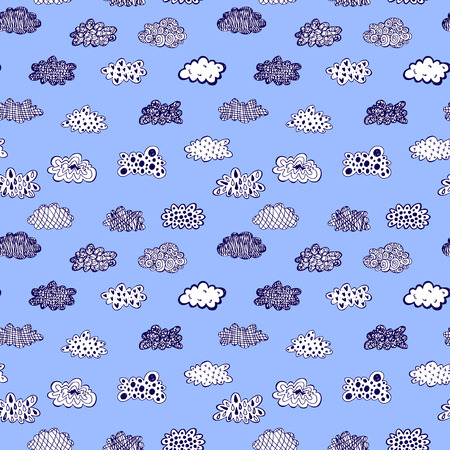 Creative conceptual hand drawn clouds illustration seamless pattern background
