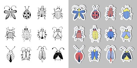 Hand drawn Insect Sketch Sticker Set. Design for handmade decorative brooch.
