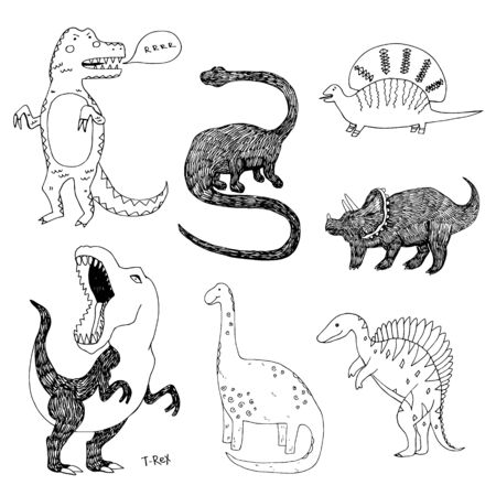 Apatosaurus triceraptor and angry tyrannosaurus rex with open huge mouth sketch. Hand-drawn dinosaur set. Animal vector illustration Ilustração