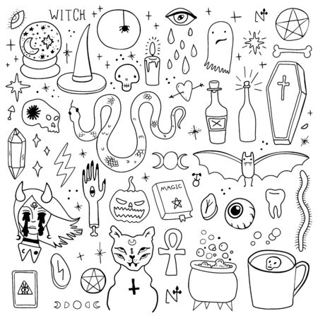 Magic Halloween objects. Hand drawn colored vector set.