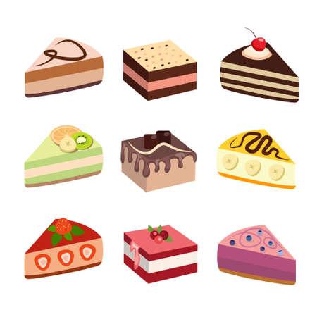 Cake set design collection. Delicious dessert