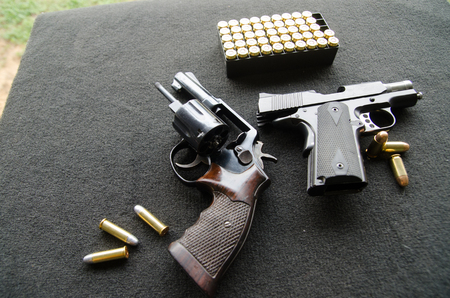 two kind  short gun and bullets tray Banco de Imagens