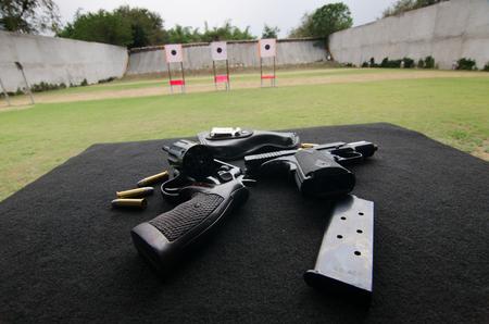 short gun in shooting range