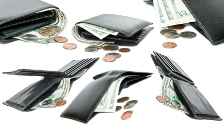 five dollars: A set of wallets isolated on a white background  Stock Photo