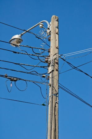 Electricity post over the blue sky  photo