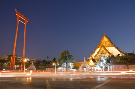 giant: Suthat Temple and the Giant Swing in Bangkok, Thailand  Stock Photo
