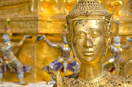 far eastern: A Golden Kinnari statue at the Temple of the Emerald Buddha (Wat Phra Kaew) , Bangkok, Thailand
