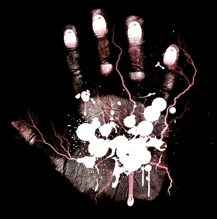 Abstract bloody hand-print isolated on a black background  photo