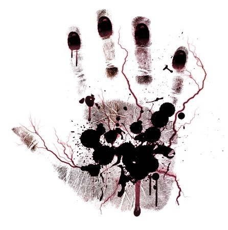 blood splatter: Bloody hand-print painted isolated on a white background