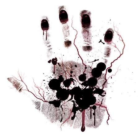 bloody hand print: Sangrienta mano de impresi�n con pintura aislado en un fondo blanco Foto de archivo