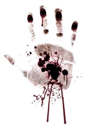 murderer: Bloody hand-print painted isolated on a white background