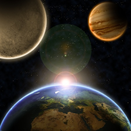 fantasy alien: Planets with sunrise in the space  Stock Photo