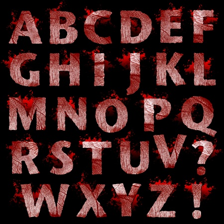 Set of bloody Fingerprint letters artwork isolated on a black background  photo