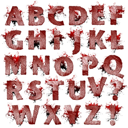bloody hand print: Conjunto de obras de arte de huellas dactilares con sangre las letras aisladas sobre un fondo blanco