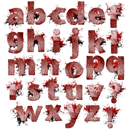 Set of bloody Fingerprint letters artwork isolated on a white background  photo