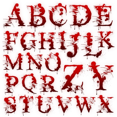 bloody: Set of Bloody letters isolated on a white background