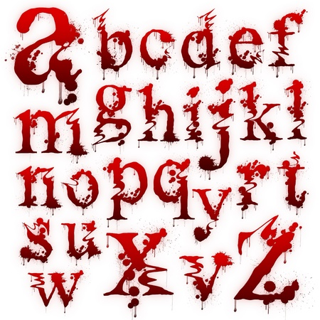 Set of Bloody letters isolated on a white background