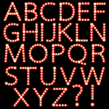 letters clipart: Set of broadway light bulb letters isolated on a black background