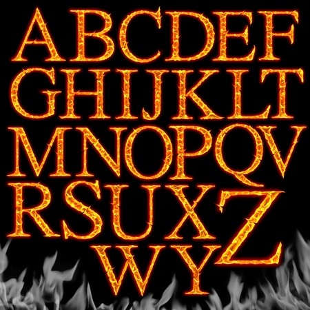 flame alphabet: Set of Fiery letters isolated on a black background  Stock Photo