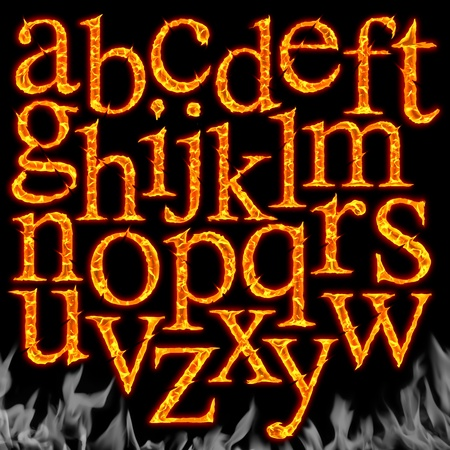 Set of Fiery letters isolated on a black background  Foto de archivo