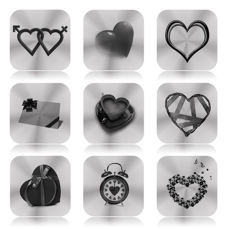 true love: Collection of valentine icons  Stock Photo
