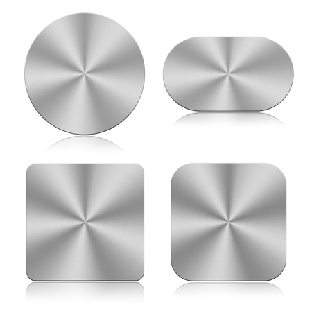 Set of chrome buttons isolated on a white background  photo