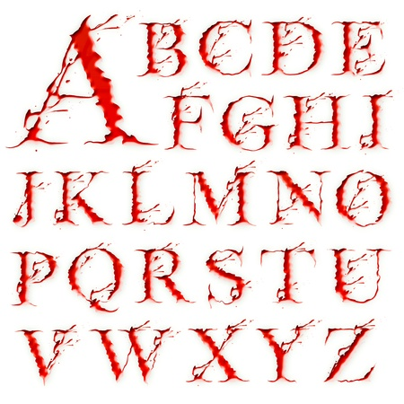 bloody: Set of Blood Liquid letters isolated on a white background