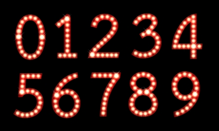 broadway: Set of broadway light bulb numbers isolated on a black background