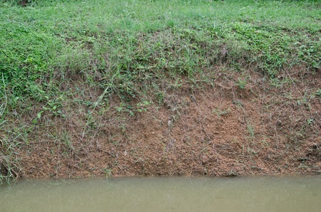 Layers of grass, soil and water on canal shore   photo