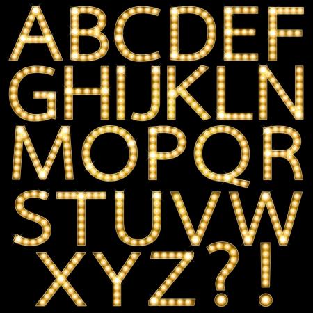 Set of Golden Broadway Light Bulb Alphabet A-Z Foto de archivo