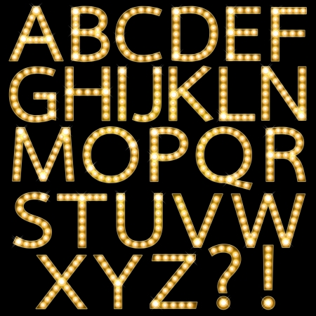 neon letter: Set of Golden Broadway Light Bulb Alphabet A-Z Stock Photo