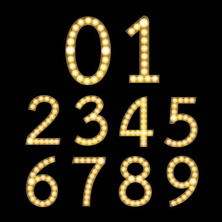 Set of Golden Broadway Light Bulb Numbers 0-9