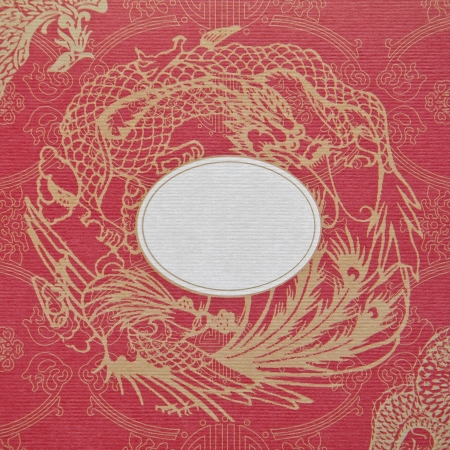 Golden Dragon and Swan on a Red Background Paper photo