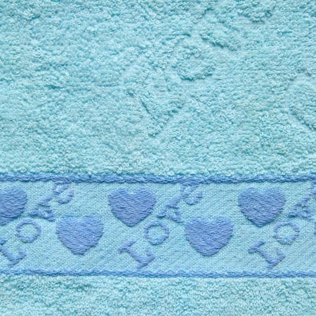 terry: Blue Towel Texture with Love Text and Heart