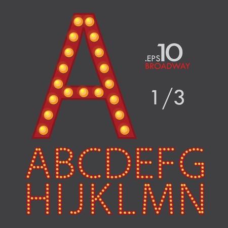1-3 Set of Broadway Vector Alphabet A-N Editable Ilustração
