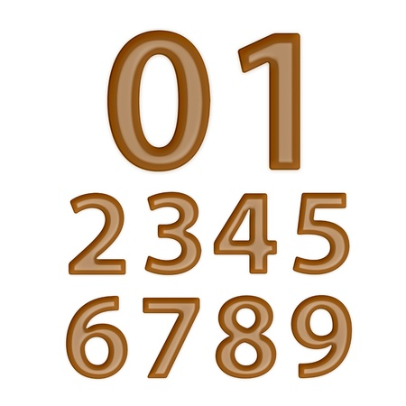 Set of Brown Chocolate Numbers 0-9 photo