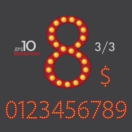 3-3 Set of Broadway Vector Numbers 0-9 Editable Vector