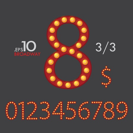 3-3 Set of Broadway Vector Numbers 0-9 Editable