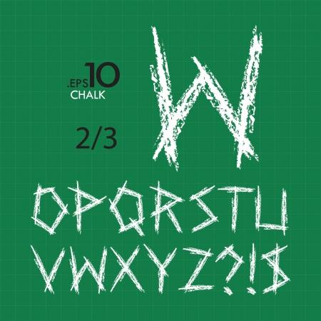 oz: 2-3 Set of Chalk Vector Alphabet O-Z Editable  TYPE 2  Illustration