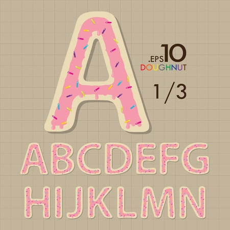 1-3 Set of Doughnut Vector Alphabet A-N Editable Vector