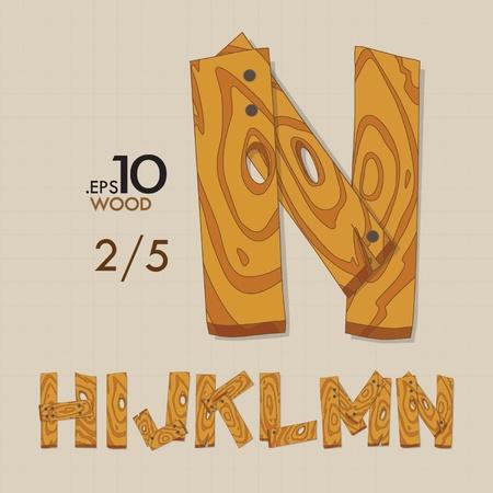 hn: 2-5 Set of Wood Vector Alphabet H-N Editable Illustration