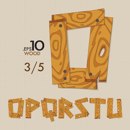 ou: 3-5 Set of Wood Vector Alphabet O-U Editable