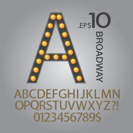 Black Broadway Alphabet and Numbers Vector Ilustração
