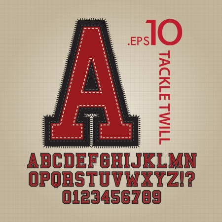 baseball: Tackle Twill Alphabet and Numbers Vector Illustration