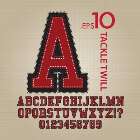 Tackle Twill Alphabet et nombres de Vector Vecteurs