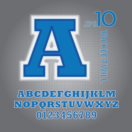 twill: Blue Tackle Twill Alphabet and Numbers Vector Illustration